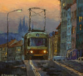 "Giclée Print on Canvas by Alexandr Onishenko - ""First Tram"""